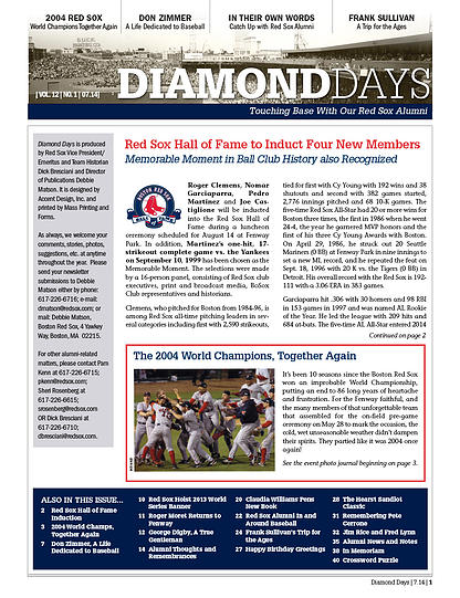 Alumni newsletter of the Boston Red Sox, produced biannually