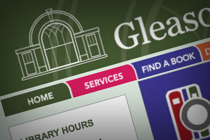 Gleason Public Library logo and website